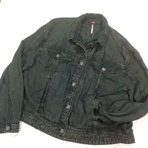 Free People Jackets & Coats - FP LIGHT WEIGHT DARK WASH DENIM JACKET